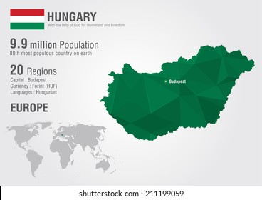 Hungary world map with a pixel diamond texture. World geography.