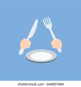 hunger or hungry waiting for clean simple meal, dinner, Lunch or breakfast. no food on the plate. Hands holding fork & knife or flat design modern cartoon flatware & cutlery on empty plate isolated.