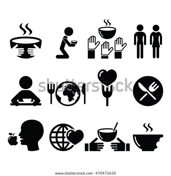Hunger Starvation Poverty Icons Set Stock Vector Royalty Free