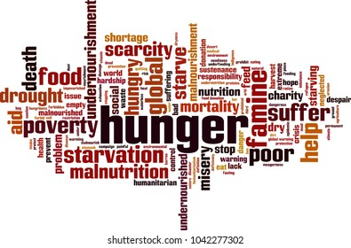 Hunger word cloud concept. Vector illustration