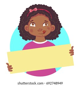 Hungry African or Afro-American girl holding blank poster. Blank message vector illustration. Hands holding blank paper