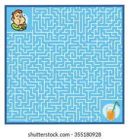 Hungry boy's Maze Game (help the hungry boy find his juice - Maze vector puzzle)