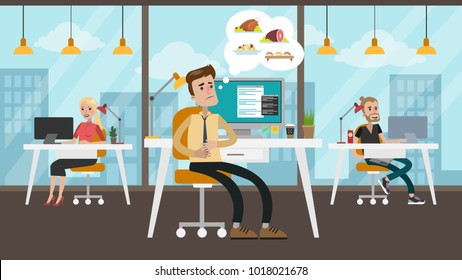 Hungry businessman at office thinking about food.