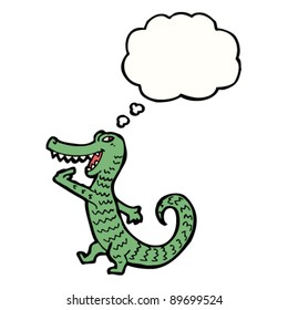 hungry cartoon crocodile with thought bubble