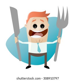 hungry cartoon man with fork and knife