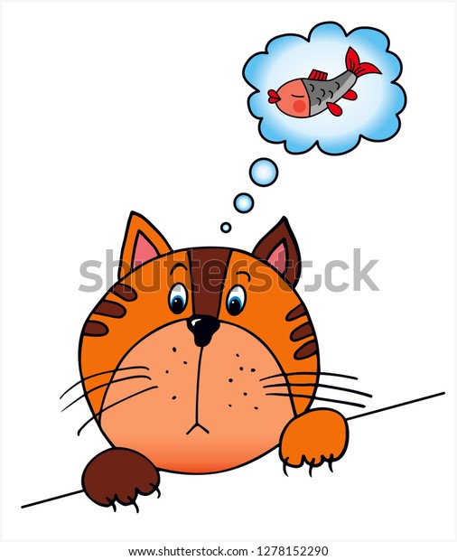 Hungry Cat Waithing Fish Colored Vector Stock Vector Royalty Free 1278152290