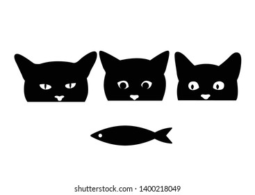 Hungry cats are looking at fish. Silhouette of a cat's head. Vector illustration.