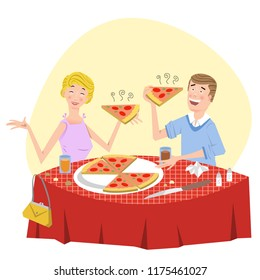 Hungry couple eating pizza in Italian restaurant (vector illustration)
