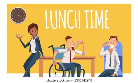 Hungry Coworker Have Break for Lunch with Pizza. Disabled Worker in Wheelchair Eat Italian Food. Woman Lean on Desk. Office Character Bite Junkfood. Cartoon Flat Vector Illustration