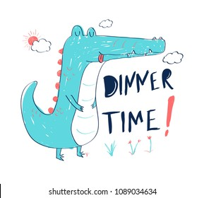 Hungry crocodile vector illustration.T-shirt graphics for kids vector illustration