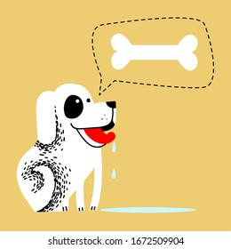 hungry dog. pet dreams to eat bone. drooling from the mouth of the animal. hungry white dog with red tongue on a yellow background and a puddle of saliva. cute cartoon vector illustration.
