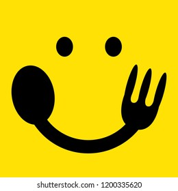 hungry or eating emoji face isolated on yellow background. enjoy eating concept. vector illustration.