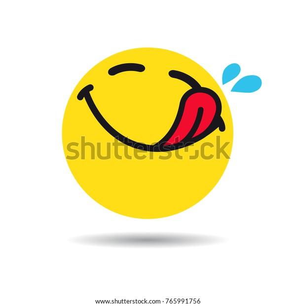 Hungry Emoticon Emoji Symbol Yummy Yellow Stock Vector Royalty Free