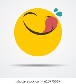 Hungry emoticon in a flat design
