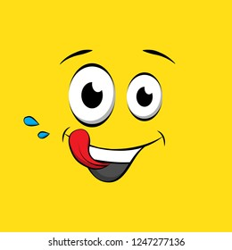 Hungry face on yellow background. Yummy yellow face in comic book style. Vector tasty icon