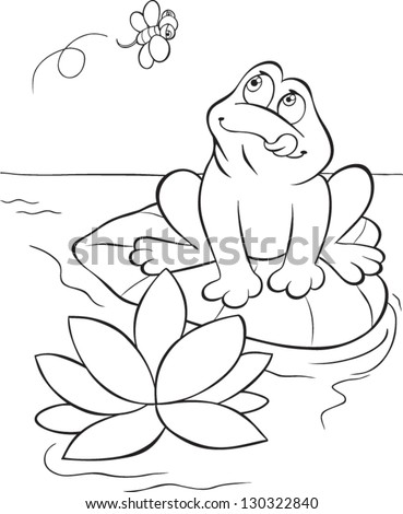 Hungry Frog Sitting On Water Lilly Stock Vector Royalty Free