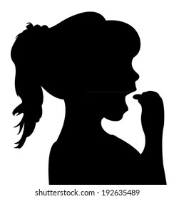 hungry girl eating, silhouette vector