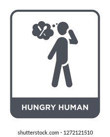 hungry human icon vector on white background, hungry human trendy filled icons from Feelings collection, hungry human simple element illustration