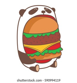 Hungry kawaii panda eating huge burger. Vector illustration.