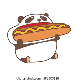Hungry kawaii panda eating huge hot dog. Vector illustration.