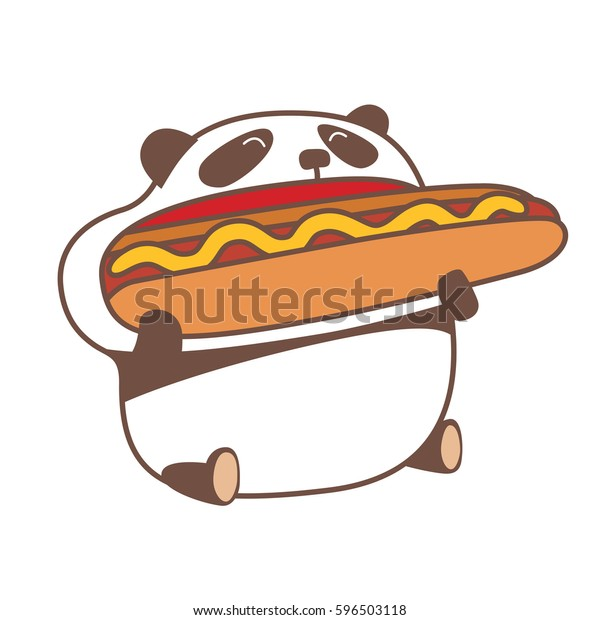 Image Vectorielle De Stock De Un Panda De Kawaii Affame Mangeant