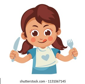 hungry little girl with fork and knife licking her mouth. Cartoon vector illustration