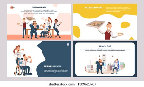 Hungry Office Worker Have Break for Pizza Set. Coworking Lunch Delivery. Disabled Man in Wheelchair Eat Italian Food. Male and Female Character with Junkfood. Cartoon Flat Vector Illustration