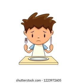 Hungry sad child
