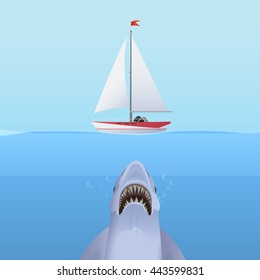 Hungry Shark Attack yacht ship from the ocean water. Business shark risk and hidden power concept.