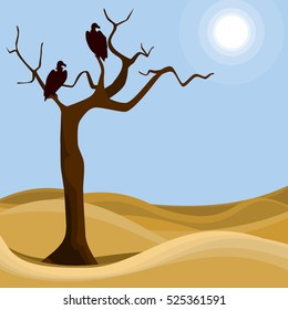 Hungry vultures. Abstract desert scene with birds of prey and dry tree. Vector illustration.