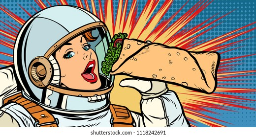 Hungry woman astronaut eating kebab Doner Shawarma. Pop art retro vector illustration vintage kitsch drawing