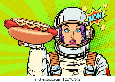 Hungry woman astronaut with hot dog sausage. Pop art retro vector illustration vintage kitsch drawing