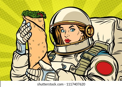Hungry woman astronaut with Shawarma kebab. Pop art retro vector illustration vintage kitsch drawing