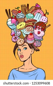 Hungry woman thoughts concept. Sweets baking birthday. Pop art retro vector illustration kitsch vintage