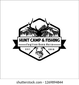 HUNT CAMP & FISHING / exclusive logo design inspiration