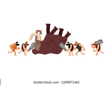 Hunt for mammoth. caveman Prehistoric man Hunter. Homosapiens people. Paleolithic life. Vector illustration