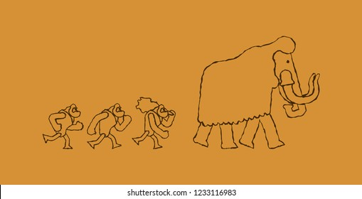 Hunt for mammoth Rock painting. caveman Prehistoric man Hunter. Homosapiens people. Paleolithic life. Vector illustration