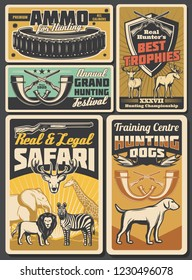 Hunt open season and African safari retro posters. Vector vintage design of wild animals and hunter ammo rifles, traps or hunting dogs and elk, deer or lion and elephant with giraffe