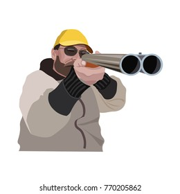 Hunter aiming a double barreled shotgun at you. Vector illustration isolated on the white background
