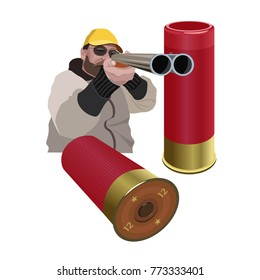 Hunter aiming a double barreled shotgun and 12-gauge shells. Vector illustration isolated on the white background