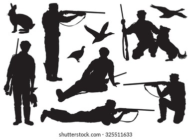 Hunter directs a rifle at a target. set of black icons