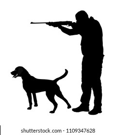Hunter with dog aiming with his rifle vector silhouette. Outdoor hunting scene. Pointer looking on prey. Man hunting isolated on white. Synergy partnership. Traditional hobby. Best friend in action.