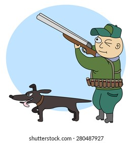 Hunter with dog.Illustration of funny hunter with a rifle and dog.