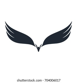 Hunter eagle. Eagle with negative space on white background. Vector illustration.