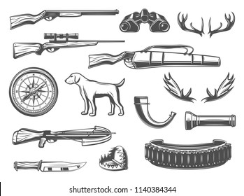 Hunter equipment and hunt items for open season or hunter club. Vector hunter dog, elk antlers carbine with bullets, compass and knife with binoculars, animal trap or horn and crossbow arbalest