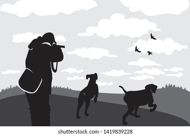 Hunter with gun and dog. Hunting season. Inciting dogs to beast. Hunt down prey. Man shoots at ducks. Clouds float across sky. Wildlife. Forests and fields. Black and white illustration. Vector.