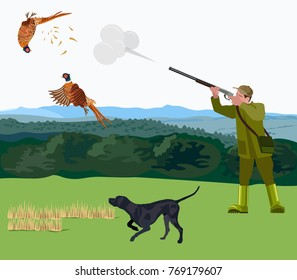 Hunter with a hunting dog shoots a pheasants. Vector illustration