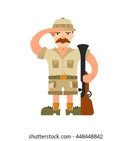 Hunter illustration isolated on white background. Rifle, ammunition, hat, safari, boots. Hunter in cartoon style with a gun and ammunition.