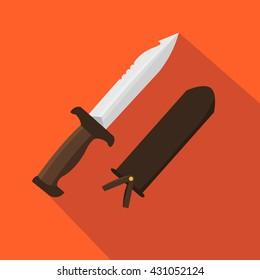 Hunter knife. Flat and cartoon style. Vector illustration. Hunting season.