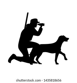 Hunter looks through binoculars and keeps the german pointer. Dog and people silhouette icon. Vector flat illustration isolated on white background.